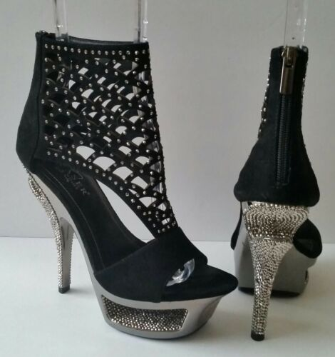 Pleasure Day & Night Rhinestone Platform Bootie He