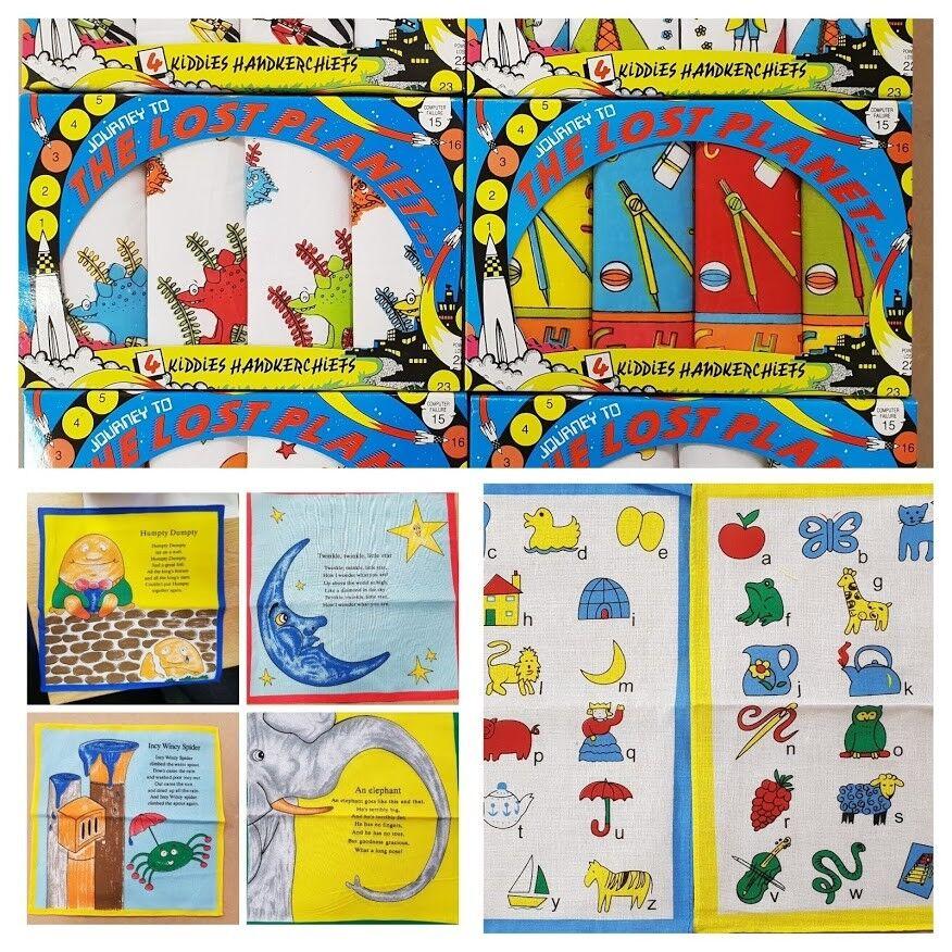 Kids Handkerchiefs 100% Cotton Printed Alphabet Nursery Rhymes CLEARENCE!