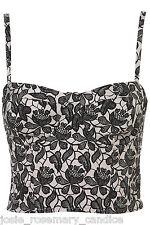 Topshop Black Floral Shadow Lace Floral Cup Corset Bralet UK 16 EUR 44 New