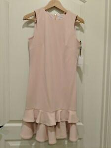 Calvin-Klein-Blush-Pink-Ruffle-Hem-Sheath-Dress-Size-2-New