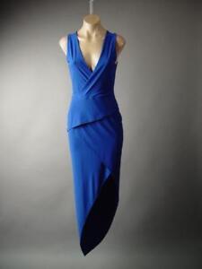 Royal-Blue-Sculptural-Wrap-Peplum-Evening-Formal-Cocktail-Gown-252-mv-Dress-M-L