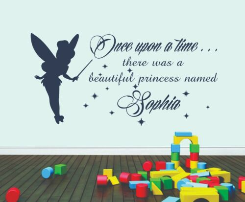 Personalised Name Vinyl Wall Sticker Art Bedroom Once Upon A Time Tinkerbell