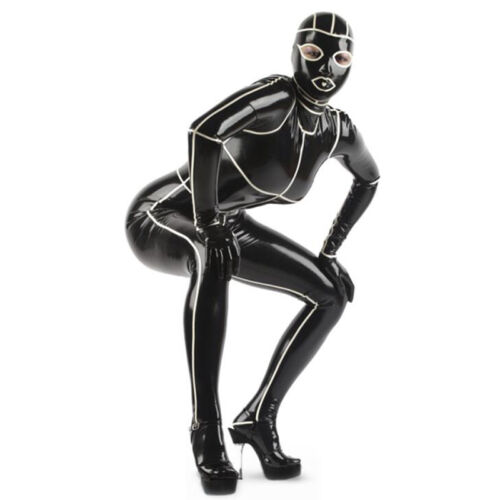 Full Cover Black Latex Catsuit with White Stripe Back Zipper Rubber Bodysuit