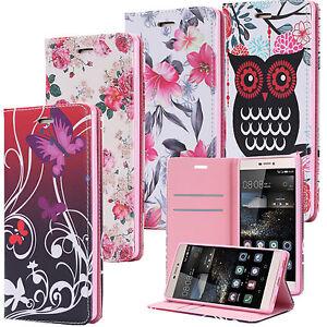 Cartera-Flip-Case-Wallet-Cover-Motivo-funda-bolsa-Huawei-Buho-Rosa-Mariposa