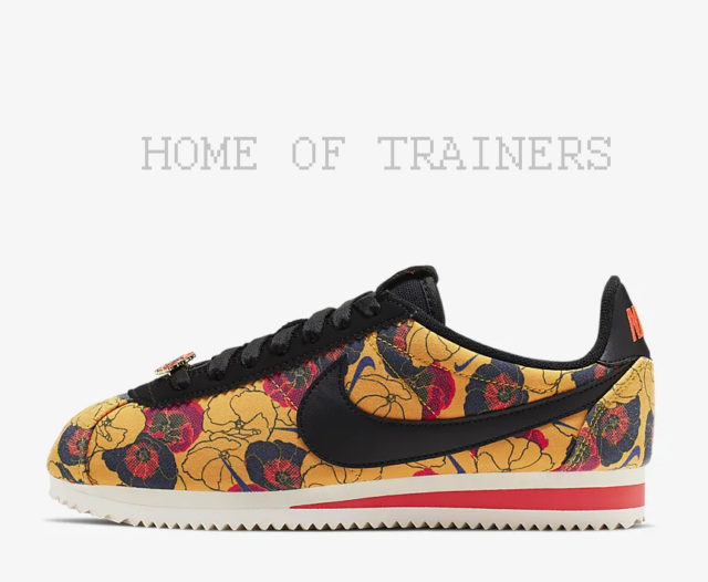 best service 05e24 0b434 Nike Classic Cortez LX Floral Gold Bright Crimson Black Girls Women's  Trainers