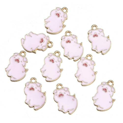 10Pcs Cute Enamel Animal Pig Cat Panda Pendant Charms Jewelry Making Findings