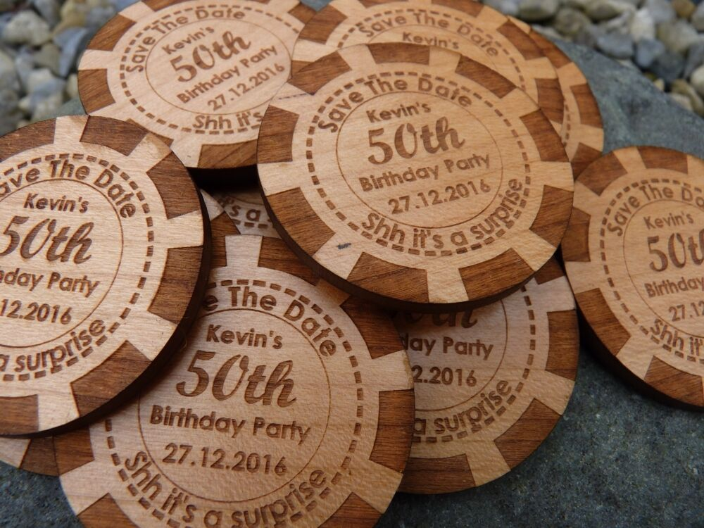 Poker Chip Save The Date Wooden Magnet Wedding Party Invitation Fridge Magnets