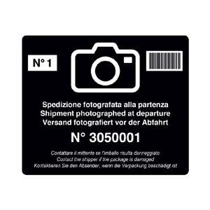 Etichette adesive antimanomissione spedizione fotografate alla partenza 100 pz