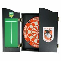 49654 St George Dragons Nrl Logo Bristle Dartboard & Wooden Cabinet Dart Board