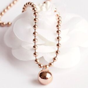 Stunning-18K-Rose-Gold-Filled-Women-12MM-Round-Ball-Beads-pendant-Charm-Necklace