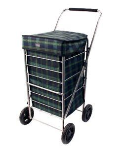Sabichi-Angus-carro-de-compra-de-4-Ruedas-Azul-y-Verde-Tartan