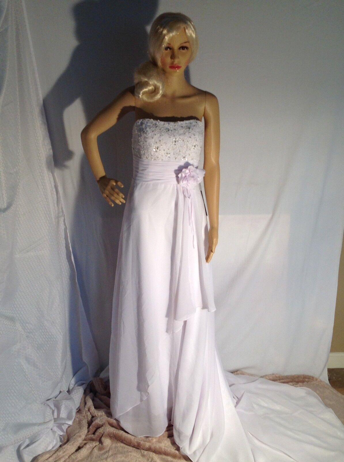 Bailey Bridal Strapless Sequined Satin Chiffon Custom Wedding Dress