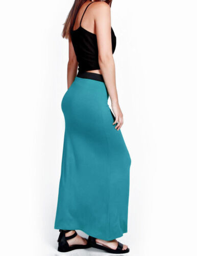 NEW WOMENS LADIES JERSEY LONG MAXI SKIRT GYPSY STRETCHY SKIRT SIZE 8-14*Jrskt