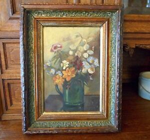 e310af05b353 Image is loading Antique-Floral-Still-Life-Painting-1880s-Oil-Canvas-