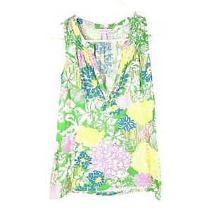 Lilly-Pulitzer-Colorful-Essie-V-Neck-Button-Sleeveless-Top-Womens-Sz-XXS