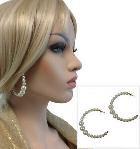 """Large White Beaded Faux Pearl Semi Hoop Pierced Earrings 2 1/2"""""""