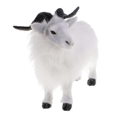 24cm Long Miniature White Goat Sheep Statue Model for Home Garden Ornaments