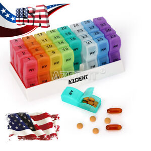 USPS Monthly Pill Organizer Box Small Pill Case Organizers 2 Times a Day Pill