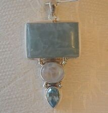 NWOT Green Chalcedony ,Moonstone and Faceted Blue Topaz Sterling Silver Pendant