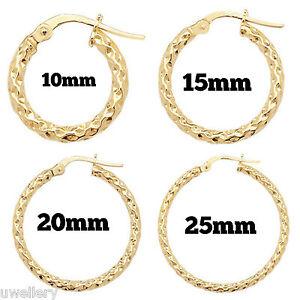 9-Carat-Yellow-Gold-Ladies-Round-Hoop-Earrings-Hallmarked-10mm-25mm-NEW