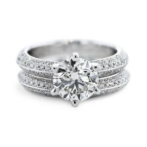 2.10 Ct Certified Moissanite Engagement Band Set Solid 18K White Gold Size 5 6
