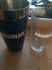 Brand New Absolut Vodka Shaker Tin And Pint Glass