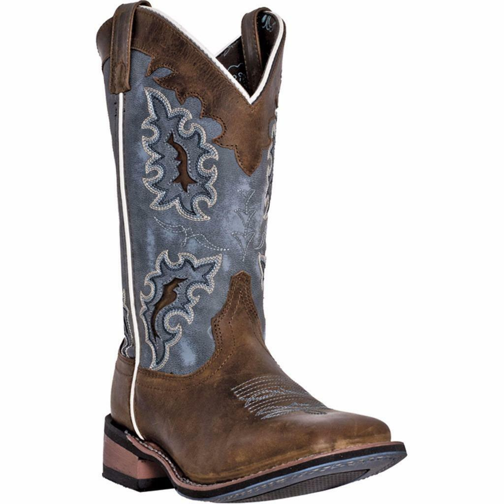 Laredo Western Womens Boots Isla Square Toe Blue Denim 5666