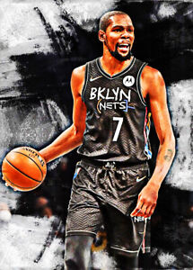 2021 Kevin Durant Brooklyn Nets Basketball 11/25 Art ACEO Print Card By:Q