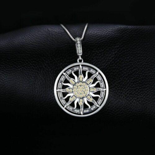 Echt 925 Sterling Silber Halskette Zirkonia Charme Sonne Damen edlen Schmuck Neu