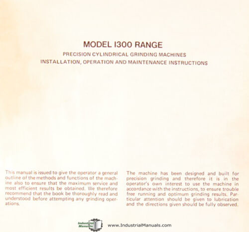 Jones /& Lamson 1300 Series Grinder Operations and Maintenance Manual