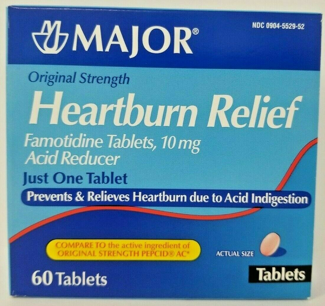 Major Famotidine 10mg Heartburn Relief 60ct (Compare to Pepcid) -Exp 07-2020 1