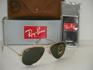 ray ban rb3044  RAY BAN AVIATOR RB 3044 L0207 52mm GOLD FRAME W/ G-15XLT GREEN ...