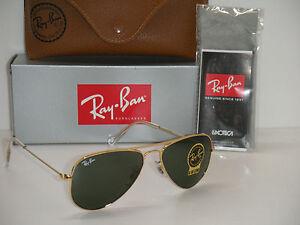 c85a39cf9a5 RAY BAN AVIATOR RB 3044 L0207 52mm GOLD FRAME W  G-15XLT GREEN ...