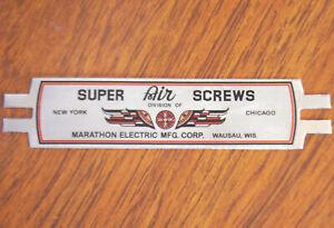 Marathon-Super-Air-Screws-Fan-Cage-Badge-Reproduction