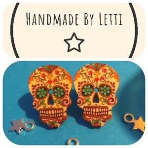 Details About Day Of The Dead Wooden Sugar Skull Stud Earrings Handmade Perfect Gift