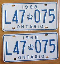 Ontario 1968 License Plate PAIR # L47 075