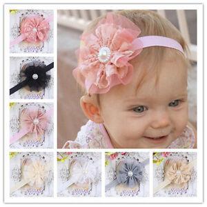 Mignon-Bebe-Enfant-Fille-Tout-petit-perle-Fleur-Lace-Headband-Bandeaux