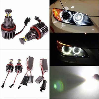 2X 40W H8 White Angel Eye Halo Ring LED Marker Light Lamp For BMW E90 E92 E93 X5