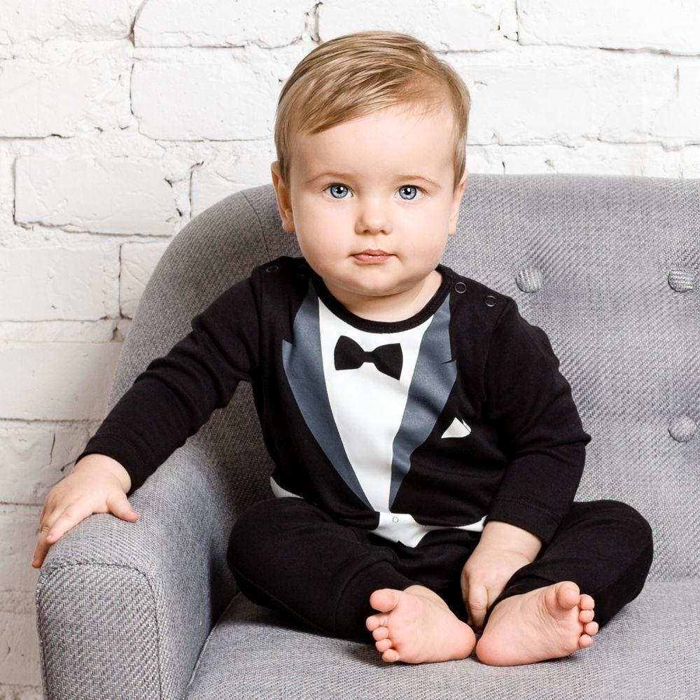 Il PICCOLO UNIVERSO Baby Boy Smoking formale Babygrow Pagliaccetto