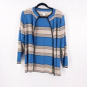 Exclusively-Misook-Petit-Small-Cardigan-Jacket-Open-Front-Striped-Blue-Gray