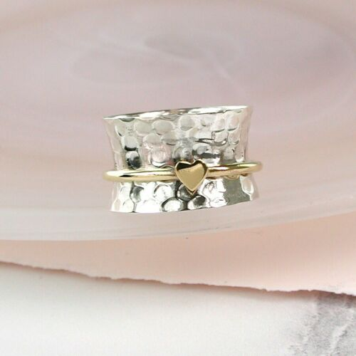 FREE GIFT BAG 925 STERLING SILVER SPINNING RING WITH BRASS HEART THUMB FIDGET