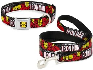 Buckle-Down-Seatbelt-Dog-Collar-or-Leash-Iron-Man-Marvel-S-M-L-Made-in-USA