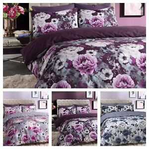 Inky Floral Grey Blue Purple Duvet Cover With Pillowcase Bedding