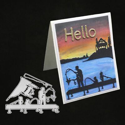 Family Fishing Cutting Dies Stencil DIY Scrapbooking Album Paper Card Craft