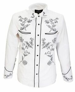 White-Black-Western-Cowboy-Vintage-retro-Shirts