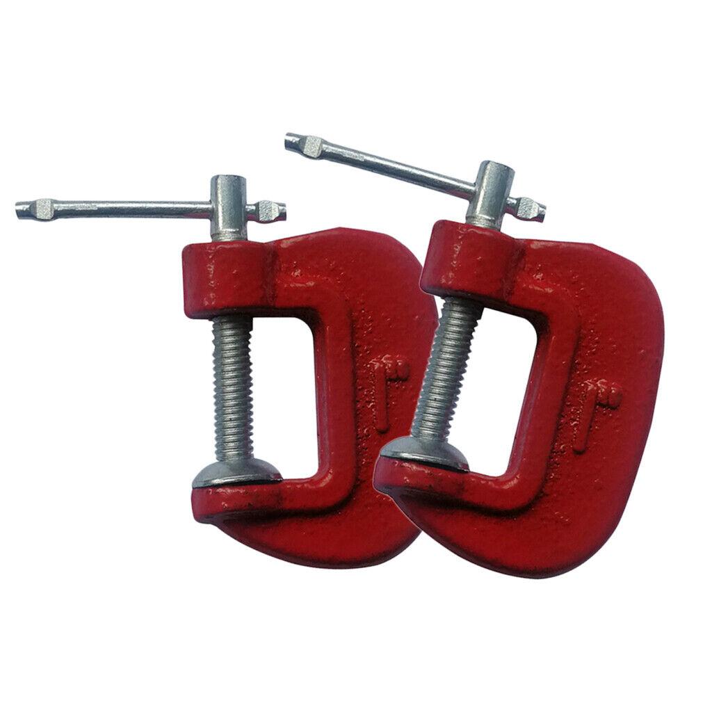 "3 Piece Mini G Clamp Set 25 50 /& 75 mm 1/"" 2/"" 3/"" Cast Iron Frame Steel Threads"