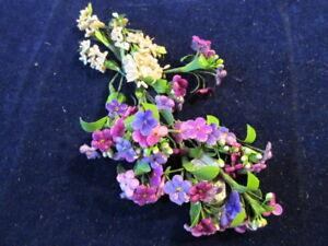 Vtg-Millinery-Flower-Collection-Pink-Purple-Velvet-Forget-me-Not-1-2-034-Germ-H3379