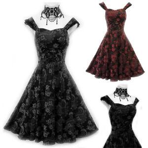 Print-Lace-Vintage-Tight-Prom-Princess-Drape-Dress-Punk-Gothic-Evening-Dresses