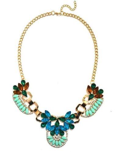 Colorful Jewel Gemstone Statement Necklace Blue Green Orange