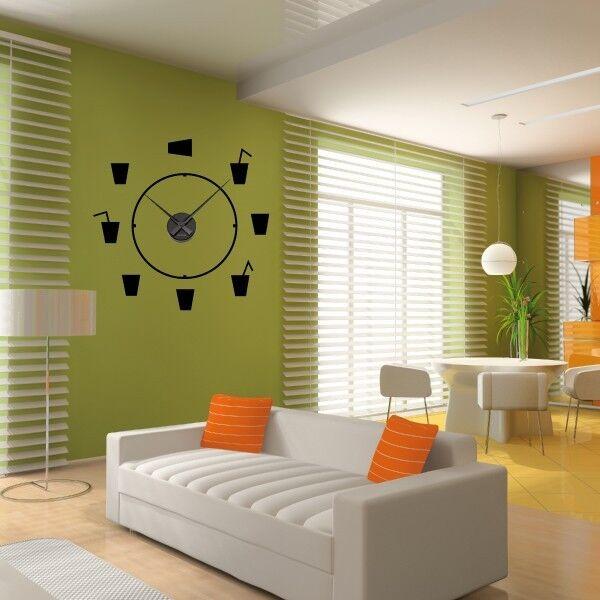 Sticker mural mural Sticker Horloge géante VERRES A COCKTAIL avec mécanisme aiguilles 38c2e5